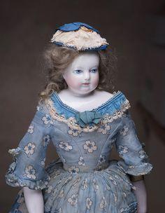 "14"" (43 cm) Rare Wonderful French Early Adelaide Huret doll, c.1855. Antique dolls at Respectfulbear.com"