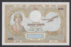 YUGOSLAVIA  1000 Dinara 1931  UNC  P29   Scarce in such UNCIRCULATED grade