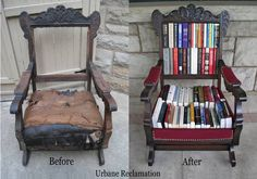 Before & After of an DIY Antique Rocker turned Book Storage, great for library