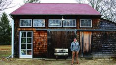 Artist Scott Bluedorn Outside his Studio East Hampton Hamptons House, The Hamptons, School Of Visual Arts, Living On The Edge, East Hampton, Beautiful Beaches, Cabin, Landscape, Studio