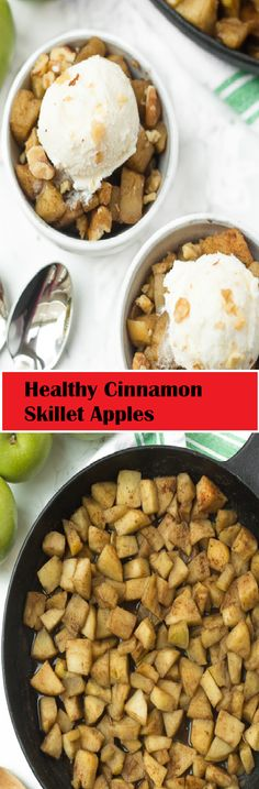 ★★★★✩ 79  | ⌚️ 25 minutes   Healthy Cinnamon Skillet Apples Dinner Recipes, Dessert Recipes, Desserts, Granny Smith, Vegan, 3 Ingredients, Chocolate Chips, Skillet, Apples