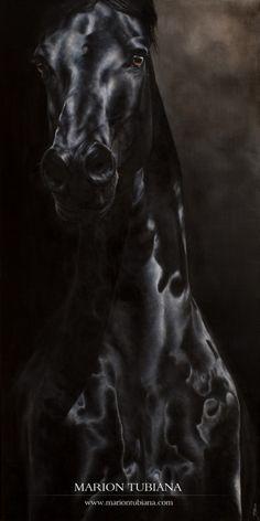 Black shiny horse painting. Marion Tubiana