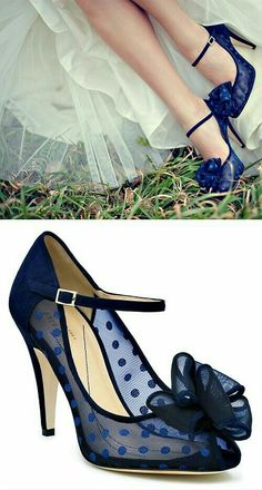 6daea1b59ecf Kate Spade polka dot heels - blue sheer mesh and patent leather adorned  with a bow .