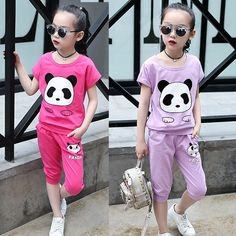 2017 Summer Girls Clothing Set Panda Girls Clothes Set  Toddler Girl tops + Pants Girls Suit Kids Clothes Sport Suit #Affiliate