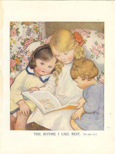 1920s Vintage  Childrens Print - Three Children Sitting In Armchair Reading Book.