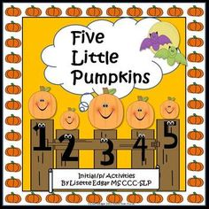 Pumpkin Fun! Improve initial /p/ articulation, rhyme, prepositions, story re-telling, phonological awareness and language skills. 42 pages of activities- including printables, cards, sorting mats and a PowerPoint story to project.  Perfect for speech therapy, literacy centers, RTI.   Five Little Pumpkins Phonological and Initial /p/ Activites includes a pumpkin patch open-ended game fun for Fall, Halloween, or Thanksgiving.  CONTENTS: 17 activities and 42 usuable pages.