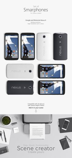 Set of Smartphone Mockups Axonometric View, Computer Mockup, Google Nexus 6, Free Photoshop, Mockup Templates, Mobile Application, Smartphone, Ads, Iphone