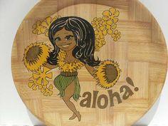Hawaiian Aloha Hula Girl Bamboo Tray Tiki Retro Mid by VintageTab, $16.00