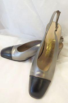 SALVATORE FERRAGAMO Pewter Gray Silver Leather Slingback Spectator Pumps Heels 6 #SalvatoreFerragamo #Slingbacks #Spectator