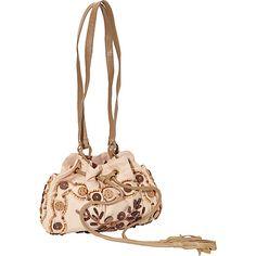 Moyna Handbags Mini Drawstring Shoulder Bag Tan - Moyna Handbags Fabric Handbags