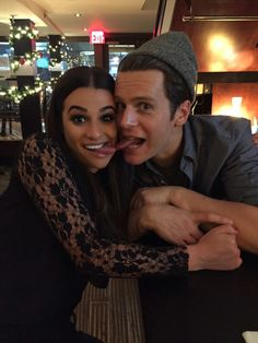 Jonathan Groff with Lea Michele in NYC. Picture posted on LM's snapchat 27Nov 2016.