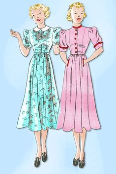 1930s Vintage Butterick Sewing Pattern 7158 Uncut Misses Shirtwaist Dress Sz 33B
