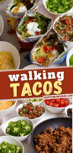 Bring the fair home with these personally customizable delectable walking tacos! This finger food recipe are perfect for parties, game day, movie night, and pool parties. Make this easy appetizer recipe for your parties! Mexican Food Recipes, Beef Recipes, Ethnic Recipes, Mexican Meals, Mexican Dishes, Yummy Recipes, Easy Family Meals, Easy Meals, Family Recipes