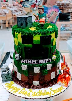Two-tiered Minecraft themed cake. Minecraft Cake, Bakery Cakes, Themed Cakes, Birthday Cake, Desserts, Food, Theme Cakes, Tailgate Desserts, Deserts