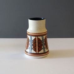 Lapid Israel Abstract Stout Stoneware Vase - Ray New York Ceramic Decor, Art Director, Israel, Stoneware, 1960s, Objects, Pottery, Hand Painted, Vase