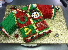 Tacky Christmas Party, Funny Christmas Movies, Christmas Cake Decorations, Holiday Cakes, Christmas Desserts, Christmas Treats, Christmas Baking, Ugly Christmas Sweater, Christmas Cookies