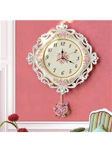 European Pastoral Decorative Flower Pattern Pendulum Resin Mute Wall Clock