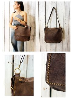 "Handmade Italian Vintage Brown Leather Bag ""TOBACCO BAG 7"" di LaSellerieLimited…"