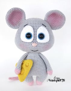 Mouse with cheese amigurumi pattern by VenelopaTOYS Crochet Animal Amigurumi, Crochet Mouse, Crochet Animal Patterns, Amigurumi Patterns, Amigurumi Doll, Crochet Animals, Knitting Patterns, Crochet For Boys, Cute Crochet