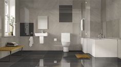 A classic styled tile with a contemporary twist. Inspired by the current contemporary trend in semi polished plaster, this premium quality British made damask decor tile can be used on its or with its complementary plain tile. Toilet, Bathtub, Bathroom, Art, Standing Bath, Washroom, Art Background, Flush Toilet, Bathtubs