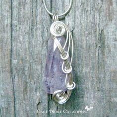 Amethyst Wire Wrapped Pendant Necklace in Silver by CareMoreCreations.com, $34.00
