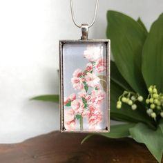 Cherry Blossom necklace | Etsy Botanical Illustration, Necklace Lengths, Cherry Blossom, Pendants, Pendant Necklace, Chain, Trending Outfits, Unique Jewelry, Handmade Gifts