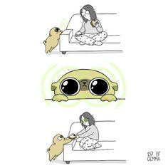 Dog mom Gemma Gené illustrates her inseparable relationship with her adorable pet pug, Mochi. The daily webcomic depicts hilarious day-to-day scenarios that many dog owners can relate to. Baby Pug Dog, Pet Pug, Dog Mom, Dog Comics, Cute Comics, Funny Comics, Pugs, Pug Illustration, Pug Names