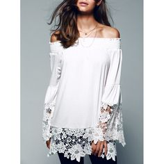 Apagado el encaje del hombro empalme blusa por MarieUSAboutique
