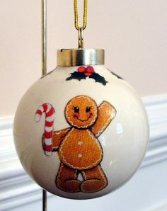 Gingerbread Man Christmas Tree Ornament by EllensClayCreations