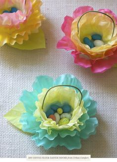 coffee filters have never looked so darling, as they do transformed into DIY Coffee Filter Easter Favors from Urban Comfort! Time to get craf...