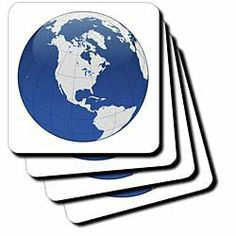 "Blue White Earth Globe - Set Of 8 Ceramic Tile Coasters by 3dRose LLC. $29.99. Comes with protective felt pads (packed separately). High gloss finish. Not absorbent. Construction grade. Dimensions: 4"" H x 4"" W x 1/4"" D. Blue White Earth Globe Coaster is a great complement to any home décor. Soft coasters are 3.5"" x 3.5"", are absorbent and can be washed. Ceramic coasters are 4.25"" x 4.25"", non absorbent and come with felt corner pads. Available in sets of 4 and 8."