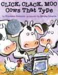 Click, Clack, Moo: Cows That Type. Farmer Brown has a problem. His cows like to type. All day long he hears Click, clack, MOO. Click, clack, MOO. Clickety, clack, MOO. But Farmer Brown's problems REALLY begin when his cows start leaving him notes. This would be a great book for practicing the hard c sound.