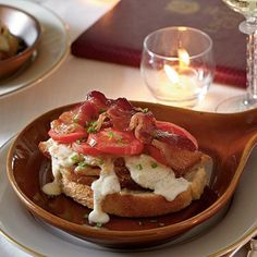 The original recipe for The Hot Brown, an open-face sandwich of turkey, tomatoes, bacon and Mornay Sauce.  Divine.  Created at The Brown Hotel in Louisville.