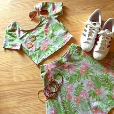 Hawaiian Crop top/Skirt set! NWT NWOT Divided label from H&M Hawaiian print skirt and crop top. Light grey with red and pink flowers and green leaves. Perfect springtime outfit! H&M Other