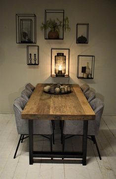 Best Dining Room Wall Decor Ideas 2018 (Modern & Contemporary Pictures) Baha dining table made from old teak planks combined with black steel legs. Now at Kötter Wonen Oldenzaal. Dining Room Wall Decor, Dining Room Design, Dinning Room Ideas, Diningroom Decor, Dining Room Furniture, Room Chairs, Furniture Decor, Furniture Design, Outdoor Furniture