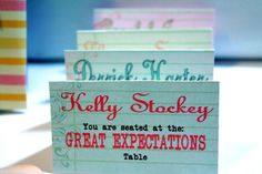 SO cute! Name tables at your wedding after you and your fiance's favorite literary works!