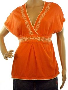 Women's ND New Directions Boho Top Orange  White V-Neck Crinkle Size M         #NewDirections #Blouse #Casual