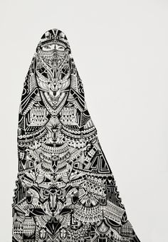 inunomimi: belledj: Bedouin Niqab done with a Staedtler Pigment...