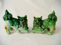 A Pair Of Vintage Oriental / Chinese  Crouching Foo Dogs