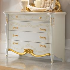 Captivating Gold Leaf And White Ornate Chest Of Drawers and Mirror Set