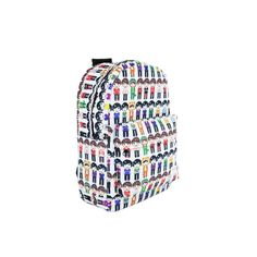 Pixel People Backpack ($14) ❤ liked on Polyvore featuring bags, backpacks, dan and phil, rucksack bag, polyester backpack, knapsack bags, white bags and backpacks bags