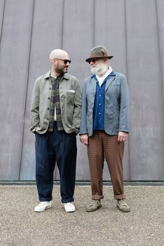 Paul on the left in Bakers Jacket in Twill, Baseball Shirt in madras check, Pocket Tee, Double Pleat Pant in summer pinstripe.On the right in the Two Button Jacket in crosshatch wool, Road Shirt in mambo cotton, Tapered Pant in tropical check.