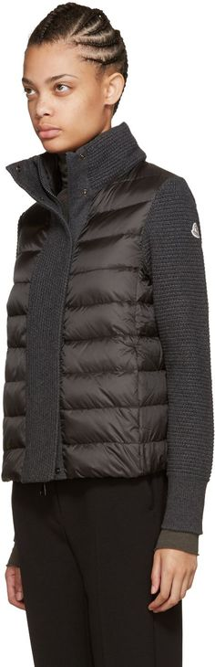 Moncler: Grey Quilted Down Jacket | SSENSE