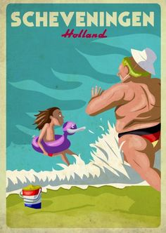 Vintage ironic and funny beach poster - www.it/en handmade olive oil cosmetics . Travel Maps, Travel And Tourism, Travel And Leisure, Vintage Travel Posters, Vintage Ads, La Haye, Tourism Poster, Beach Posters, Graphic Quotes