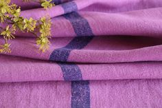 Grainsack Endless Love - Antique and handmade linen rolls and grain sacks. Welcome to our world of unique and changeless antique textile treasures.-T 578 antique dyed linen roll magenta lilac cornflower blue stripes
