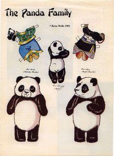 Бумажные куклы, панды-китайцы