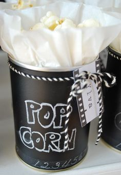 Chalkboard painted recycled tin cans for popcorn treats! Great for sleepovers and you can write the movie your watching on the back! Movie Party, Party Time, Kino Party, Bar A Bonbon, Recycled Tin Cans, Chalk It Up, Chalk Board, Chalkboard Paint, Paint Cans