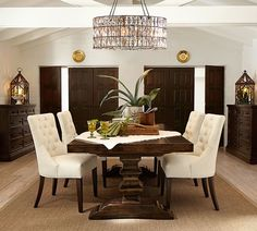 Transitional Dining Room with Cathedral ceiling, Hayes Tufted Chair, Carpet, Adeline Faceted Chandelier, Hardwood floors
