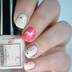 Unicorn nail art Firecracker Lacquer They All Float Down Here & Morgan Taylor Watch Your Step Sister