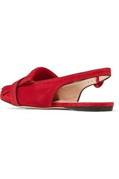 Gucci - Marmont Fringed Suede Slingback Flats - Red - IT